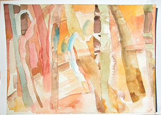 Flemons Trees Ghost gums watercolour 2004