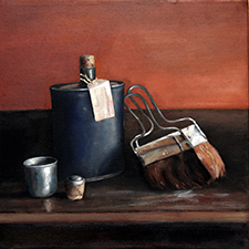 4.Bottle and Brushes. Haefligers Cottage. 2013. Oil on canvas. 30x30cm