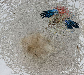 Vanessa Barbay Unveiling the Subtle Body (Winter Rosella) 2014-15. Oil, aquarelle, delek, rosella and rabbit skin glue on canvas. 76 x 69 cm.