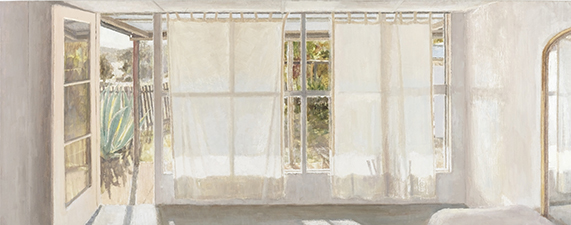 1.	Rachel Ellis Studio Interior, Haefliger's Cottage II 2006, oil on board. 50 x 125.5 cm.