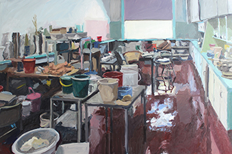 Rachel Milne Potter's Studio 2015, oil on board, 122 x 81cm. Photographed by Artist