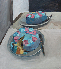 Rachel Milne Birthday Cake 2015, oil on board, 41cm x 46cm. Photographed by Artist