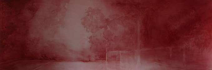 Adriane Strammp Rise 2015, oil and wax on linen. 91 x 274 cm.