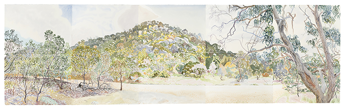 Mark Dober You Yangs 2016, watercolour on paper. 112cm x 380cm. Image courtesy of the artist.