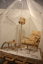 Sally Kidall Terra Firma: there's no place like home 2015, transparent fabric, birch sticks, furniture, soap castings, household items, seeds, site-specific environmental installation STEP IN STONE: Mendips Quarry Art Trail, Somerset, UK. H 2m x W 10m x L 12m. Photo: Sally Kidall