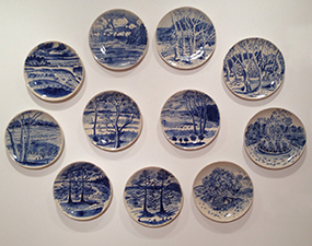 Adrienne Richards Paint my place – Coffs Harbour plate set, 2016, 11 glazed stoneware plates, each 28cm diam. Image courtesy of the artist.